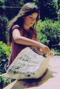 Girl doing papier mache