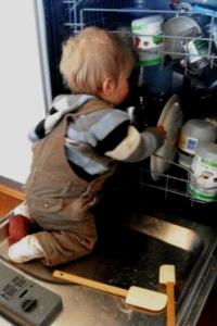 baby in dishwasher