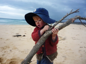 2 year old boy on beach